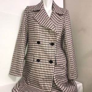 Forever 21 Pink Black Wool Knit Plaid Trench Coat